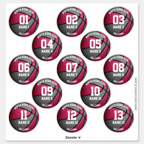 pink gray basketball players names 3 inch stickers