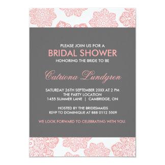 Pink & Gray Batik Flowers Bridal Shower Invitation