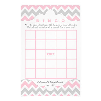 Pink Gray Bingo purse girl baby shower games Flyer