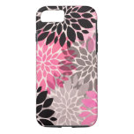 Pink gray black abstract floral pattern modern iPhone 7 case
