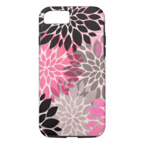 Pink gray black abstract floral pattern modern iPhone 8/7 case