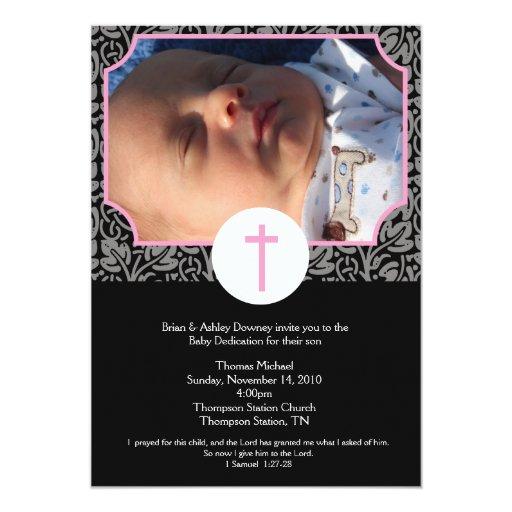 Pink/Gray/Black Baptism Baby Dedication 5x7 photo Card