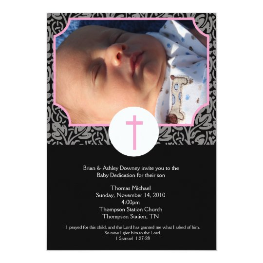 Pink/Gray/Black Baptism Baby Dedication 5x7 photo Card