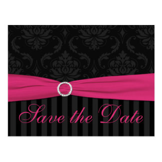 Pink Gray Black Damask Stripes Save The Date Card Postcards