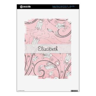 Pink Gray Black Flowers Stitched Vellum iPad 3 Skins