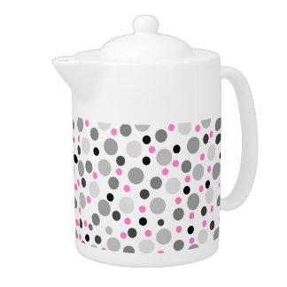 Pink Gray Black Polka Dot Pattern Teapot