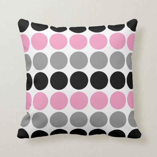 Pink Gray Black Retro Circles Pattern Throw Pillow