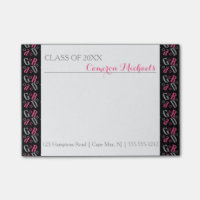 Pink Gray Black Star GRAD Graduate Monogram Post-it Notes