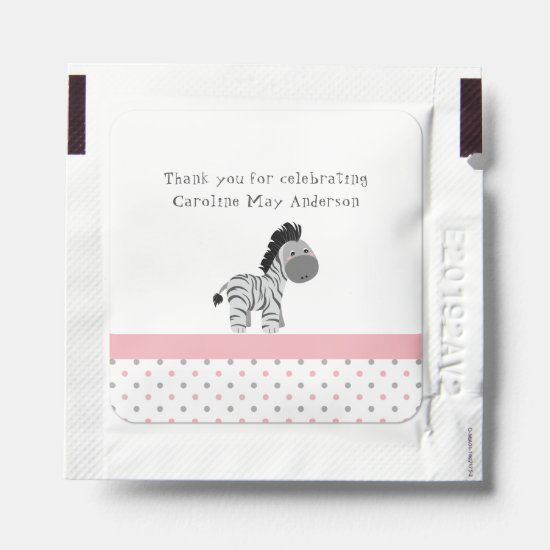 Pink Gray Black Zebra Polka Dots Thank You Favors Hand Sanitizer Packet