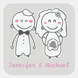 Pink & Gray Cartoon Bride And Groom Sticker / Seal Square Sticker