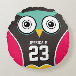 Pink Gray Cartoon Owl Kid Sports Team Round Pillow