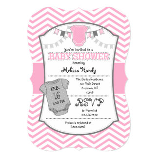 Pink Gray Chevron Baby Shower Invitation