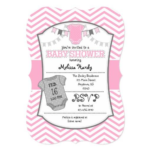 pink gray chevron baby shower invitation zazzle