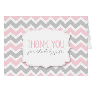 Pink Gray Chevron Baby Shower thank you notes
