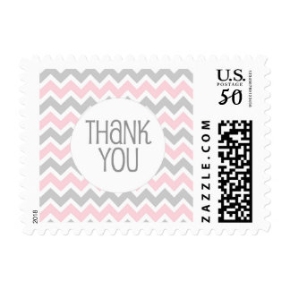 Pink Gray Chevron Baby Shower Thank You stamp