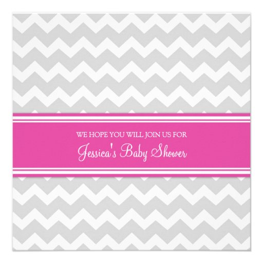 pink gray chevron custom baby shower invitations zazzle