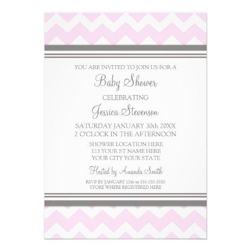 pink gray chevron custom baby shower invitations 5 x 7 invitation