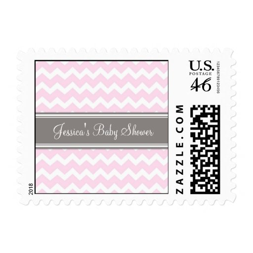 Pink Gray Chevron Custom Baby Shower Stamps