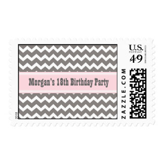 Pink Gray Chevron Custom Name Birthday Stamp