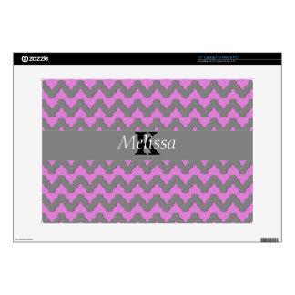 "Pink & Gray Chevron Deco Monogram Skin For 15"" Laptop"