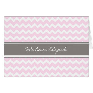 Pink Gray Chevron Elopement Announcement Card