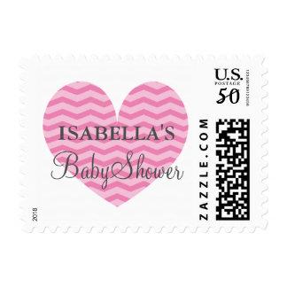 Pink gray chevron heart baby shower stamp for girl