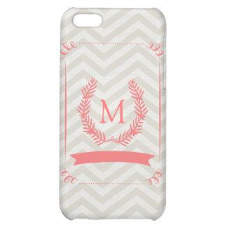 Pink Gray Chevron Monogram iPhone Case iPhone 5C Cases