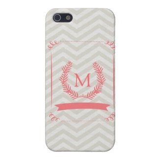 Pink Gray Chevron Monogram iPhone Case iPhone 5 Case