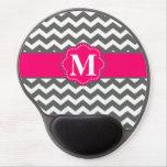 Pink Gray Chevron Monogram Mousepad Gel Mouse Pad