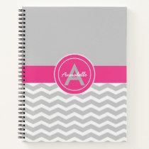 Pink Gray Chevron Notebook