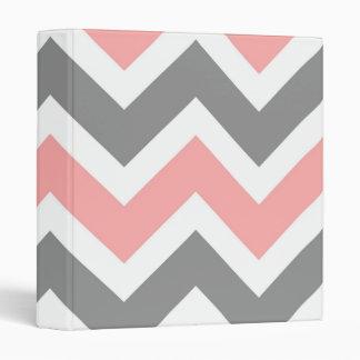 Pink & Gray Chevron Pattern Binder
