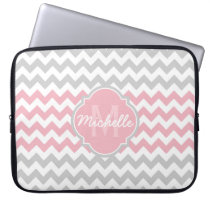 Pink Gray Chevron Pattern Quatrefoil Monogram Laptop Sleeve