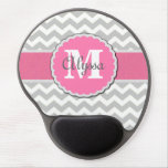 Pink Gray Chevron Personalized Mousepad Gel Mouse Pad