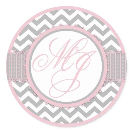 Pink & Gray Chevron Print Monogram Classic Round Sticker