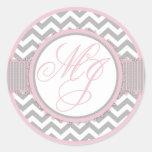 Pink & Gray Chevron Print Monogram Stickers