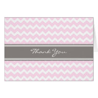 Pink Gray Chevrons Baby Shower Thank You Card