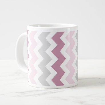 Coffee Themed Pink Gray Chevrons Jumbo Coffee Mug