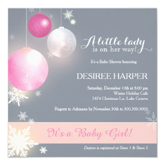 Pink & Gray Christmas Baby Girl Shower Invitations