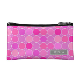 Pink Gray Circles Pattern Custom Name Bag Cosmetic Bags