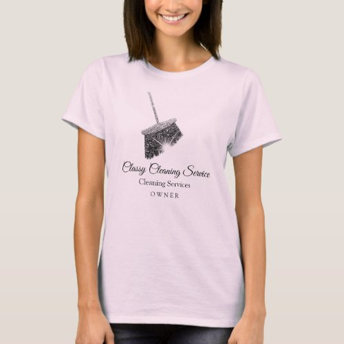 Pink Gray Cleaning Services Maid Hause Keeping T_Shirt