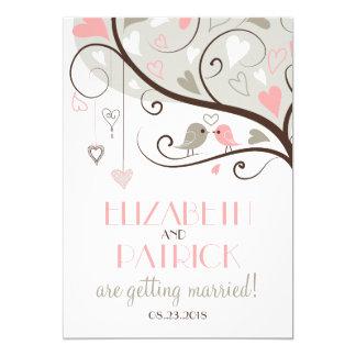Pink & Gray | Cute Lovebirds Wedding Invitation