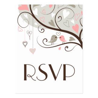 Pink & Gray | Cute Lovebirds Wedding RSVP Postcard