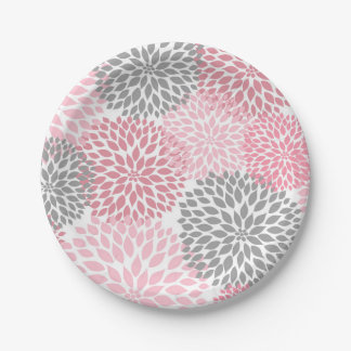 Pink Gray Dahlia Baby Shower / Bridal plate 7 Inch Paper Plate