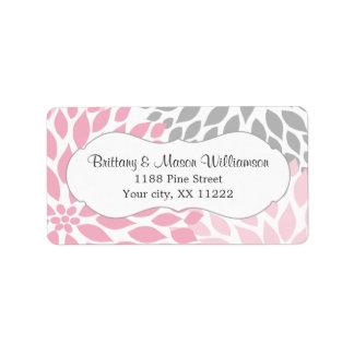 Pink Gray Dahlia Wedding Bridal Baby Shower custom Label