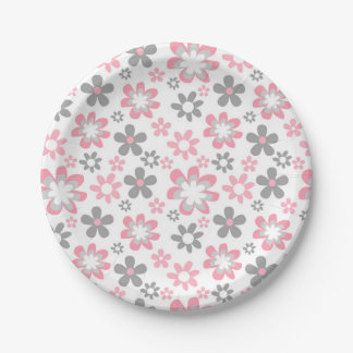 Pink Gray Daisy Baby Shower or Bridal shower Paper Plate