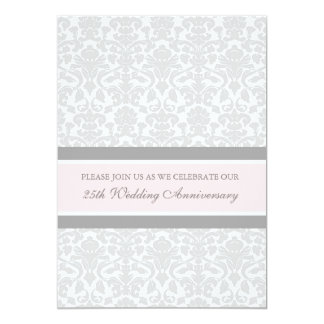 Pink Gray Damask 25th Anniversary Party Invitation
