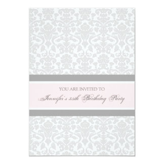 Pink Gray Damask 35th Birthday Party Invitations
