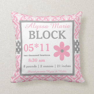 Pink Gray Damask Baby Announcement Pillow