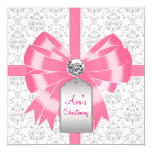 Pink Gray Damask Baby Girl Baptism Christening Personalized Invitations
