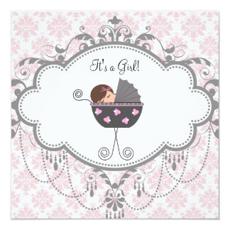 Pink Gray Damask Baby Girl Shower Invitations